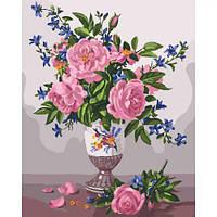 """Картина по номерам """"Изысканность роз"""" (цветы, ваза, букет, натюрморт)"""