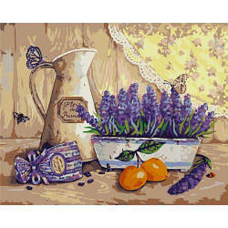 """Картина по номерам """"Богатства Прованса"""" (натюрморт, фрукты, цветы, бабочка)"""