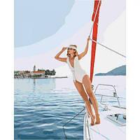 "Картина по номерам ""Прогулка на яхте"" (море, люди, девушка)"