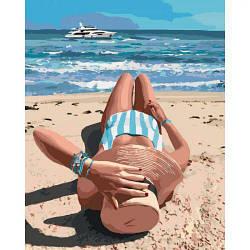 "Картина по номерам ""Волшебное лето"" (пляж, море, загар, девушка)"