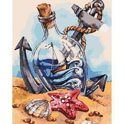 """Картина по номерам """"Морское настроение"""" (пляж, бутылка, кораблик, лето)"""