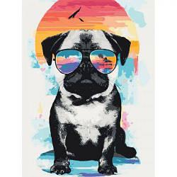 """Картина по номерам """"Летними вечерами"""" (мопс, собака, собака в очках, яркая картина, подарок парню, подарок"""