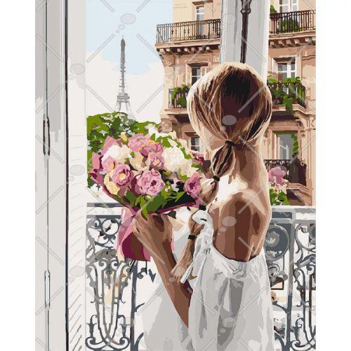 "Картина по номерам ""Из Парижа с любовью"" (Франция, Эйфелева башня, цветы, девушка)"