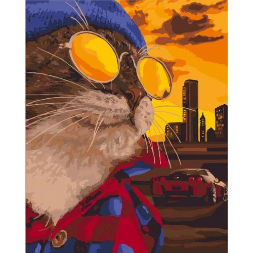 """Картина по номерам """"Дерзкий кот"""" (животные, авто, закат)"""