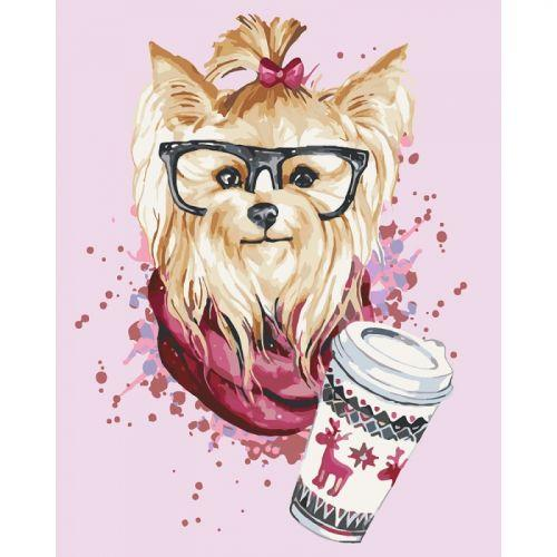 "Картина по номерам ""Может кофе?"" (животные, терьер, собака)"