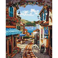 """Картина по номерам """"Волшебные улочки"""" (город, пейзаж, цветы)"""