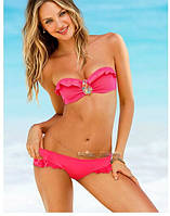 Розовый купальник бандо Victorias Secret с плотной чашкой и пуш-ап (реплика), фото 1
