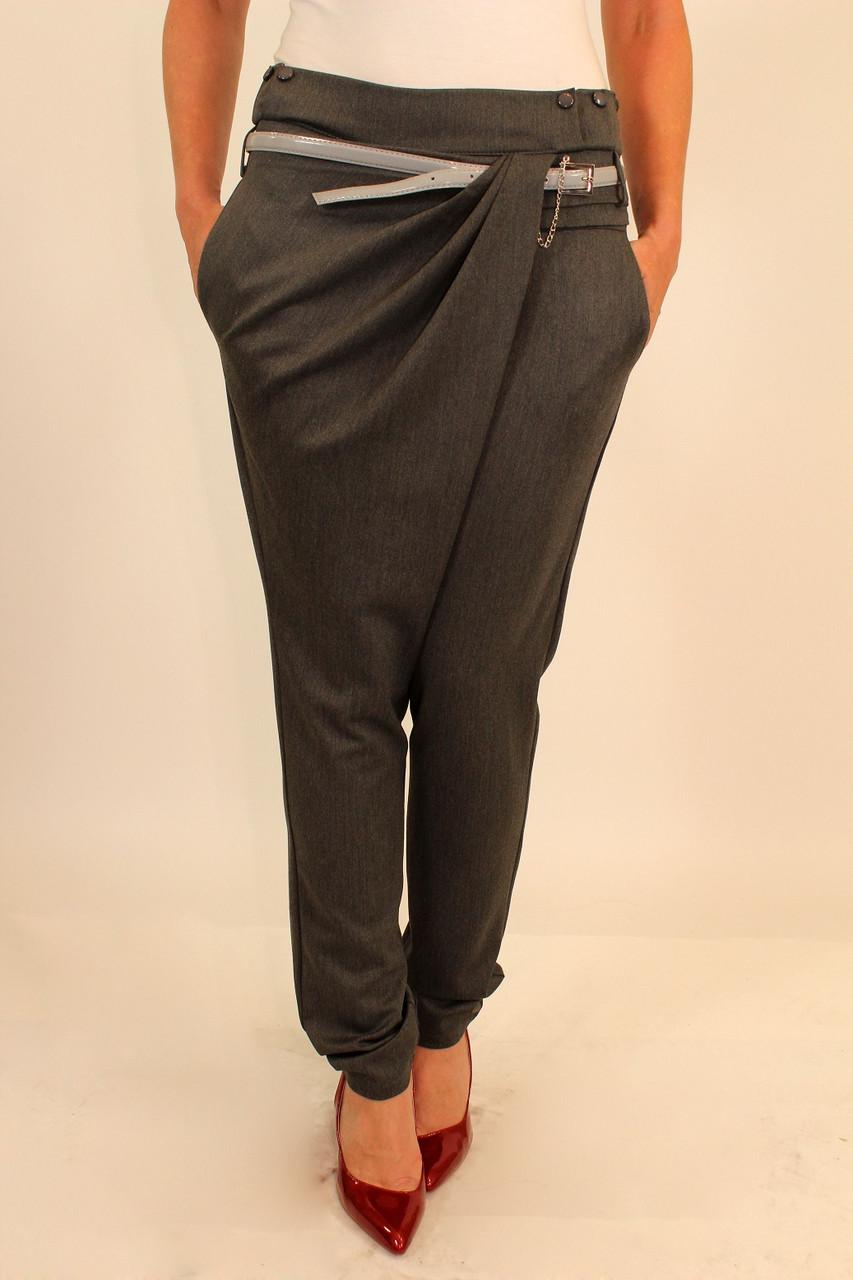 Серые брюки на запах 42-48 р