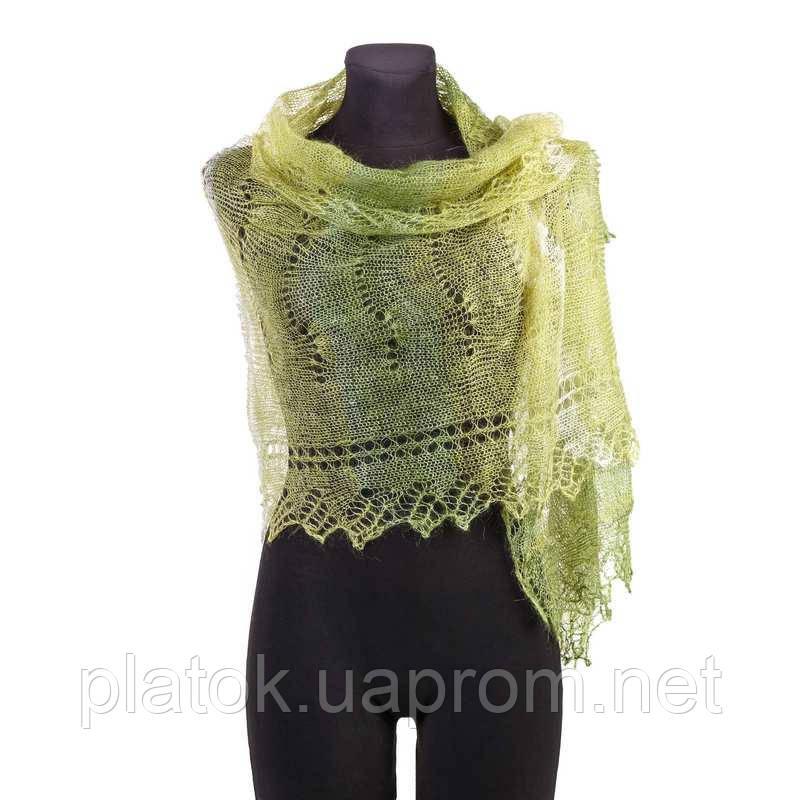 ПалантинЗелёная фисташка П-00095, салатово-зелёный, оренбургский шарф (палантин)