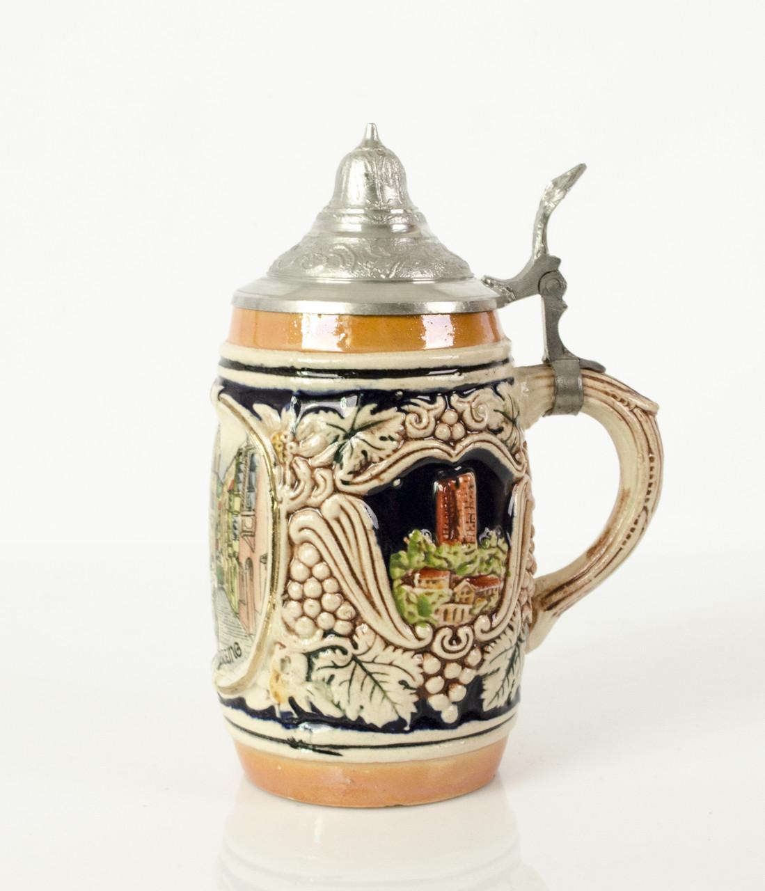 Антикварный пивной бокал, кружка, керамика, олово, Германия