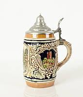 Антикварный пивной бокал, кружка, керамика, олово, Германия, фото 1