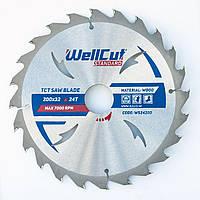Диск пильный по дереву для циркулярной и торцовочной пилы 200х32 WellCut Standard 24Т