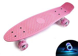 Пенни борд Penny 22″ Pastel Series Розовый (Светящиеся розовые колеса