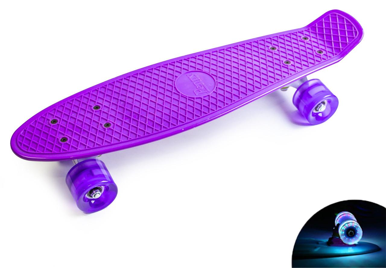 Пенни борд Penny 22″ Pastel Series Фиолетовый (Светящиеся фиолетовые колеса)