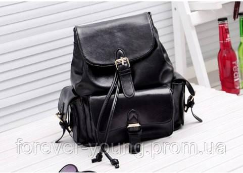 6a3169c2fd3d Рюкзак кожзам с кармашками черный цвет - Интернет-магазин