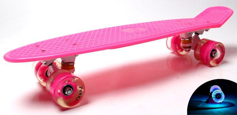 Пенни борд Penny 22″ Pastel Series Розовый (Светящиеся малиновые колеса)