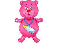 Шар на выписку из роддома девочки мишка розовый  с гелием