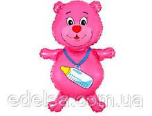 Куля на виписку з пологового будинку дівчинки рожевий ведмедик з гелієм