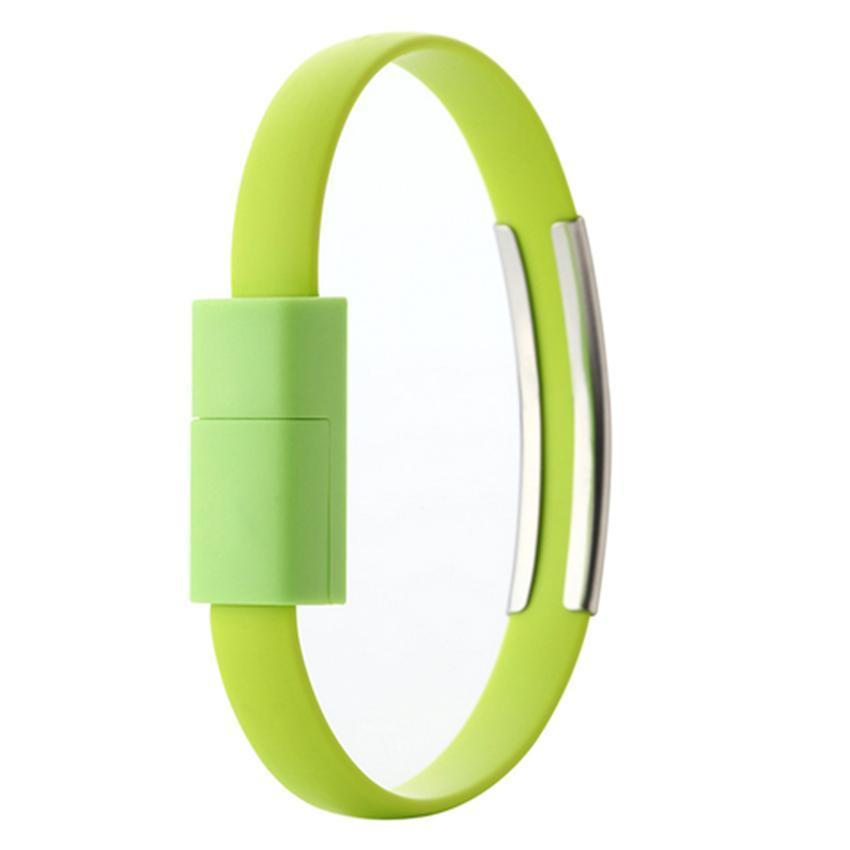 USB силиконовый браслет-кабель iPhone lightning для синхронизации ,передачи данных и зарядки телефона (green)