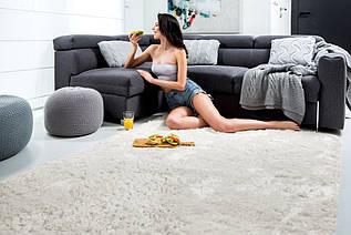 Плюшевий килим Шаггі 180x260 кремовий (14133)