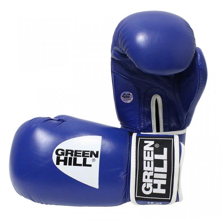 """Перчатки боксерские Green Hill  """"Tiger"""" AIBA 10 унций синие"""