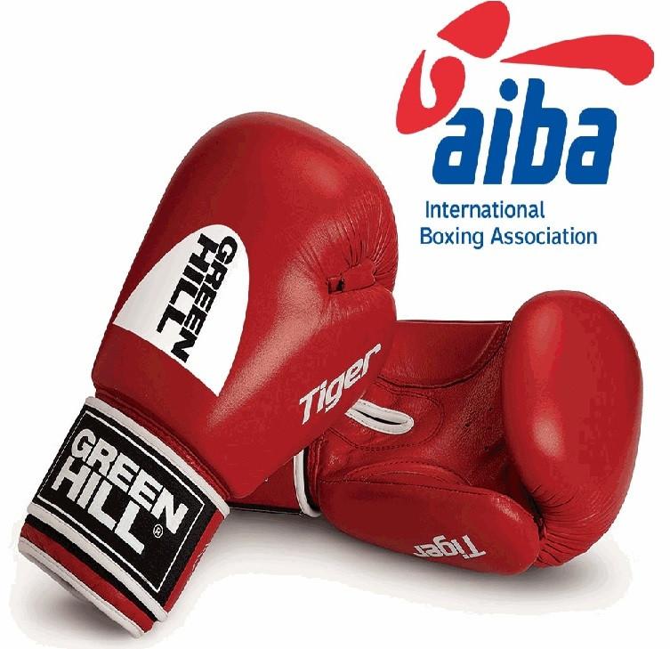 """Перчатки боксерские """"Tiger"""" AIBA Green Hil 12 унций красные"""
