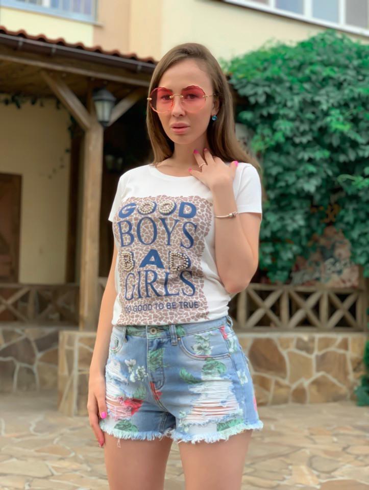 Джинсовые женские шорты с цветочным рисунком