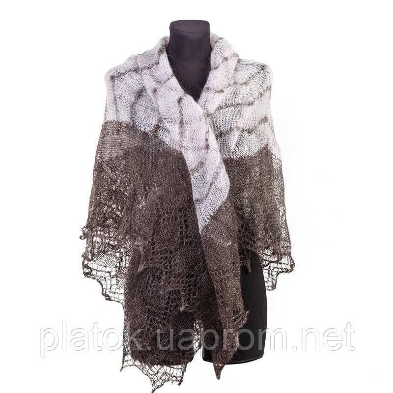 """Шаль """"""""Волна""""""""  Ш-00078, серо-белый , оренбургский платок (шаль) козий пух - 80%, натуральный"""