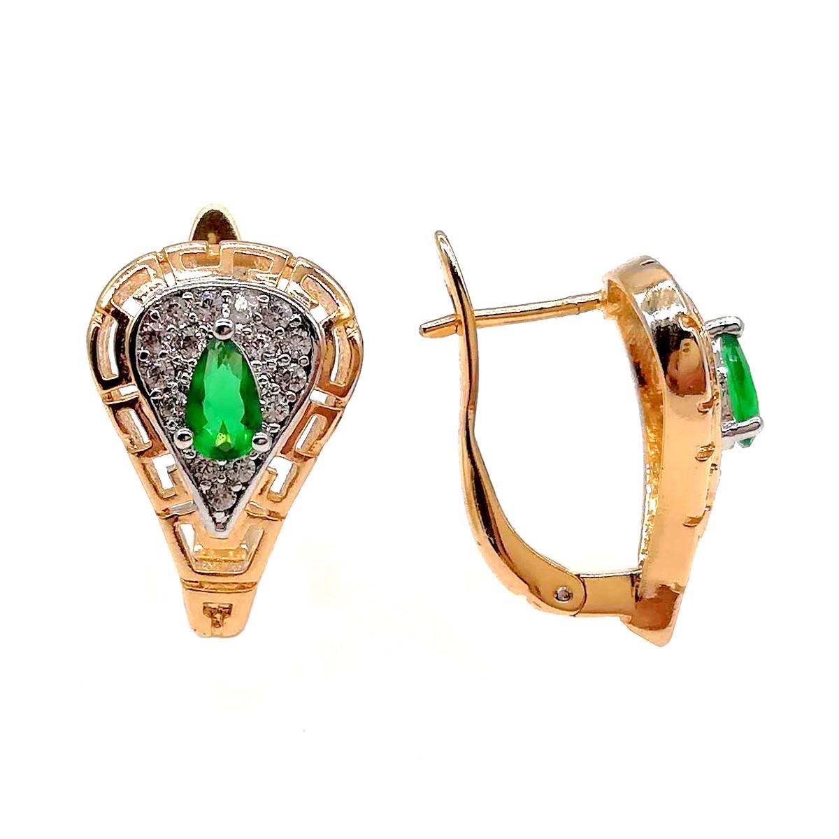 Серьги Хuping из медицинского золота с зелеными и белыми фианитами (куб. цирконием) в позолоте, ХР00221 (1)