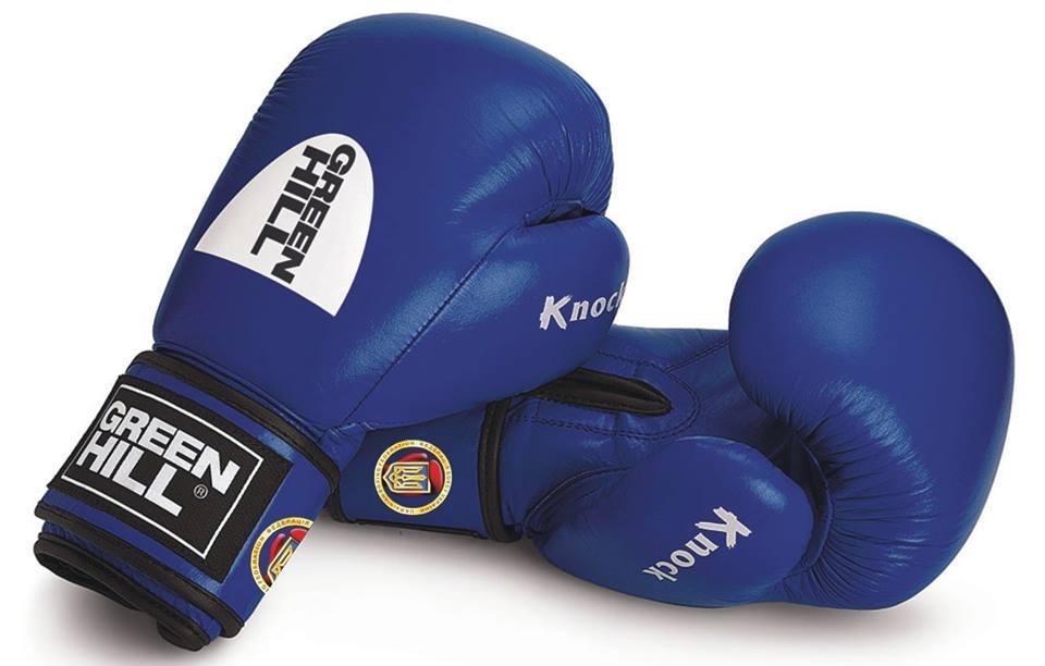 """Перчатки боксерские """"KNOCK"""" 10 унций, Green Hill лицензированные Федерацией бокса Украины"""