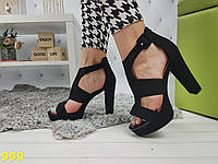 Босоножки на широком каблуке замшевые 39р, фото 1