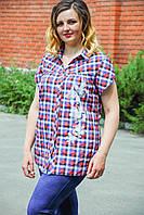 Женская блуза Крыло красная клетка. Размер 50-58