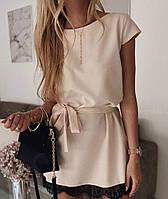 Элегантное летнее платье бежевое с кружевом