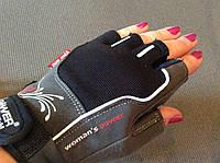 Перчатки для фитнеса WOMANS POWER без пальцев женские черно-красные р.XS, S