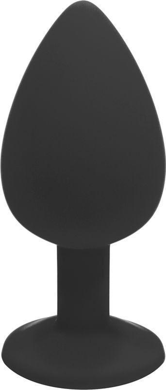 Анальная пробка с камнем черного цвета