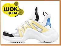 Женские стильные кроссовки Louis Vuitton Sneakers White Blue Yellow (Луи Витон, белые / синие / желтые)