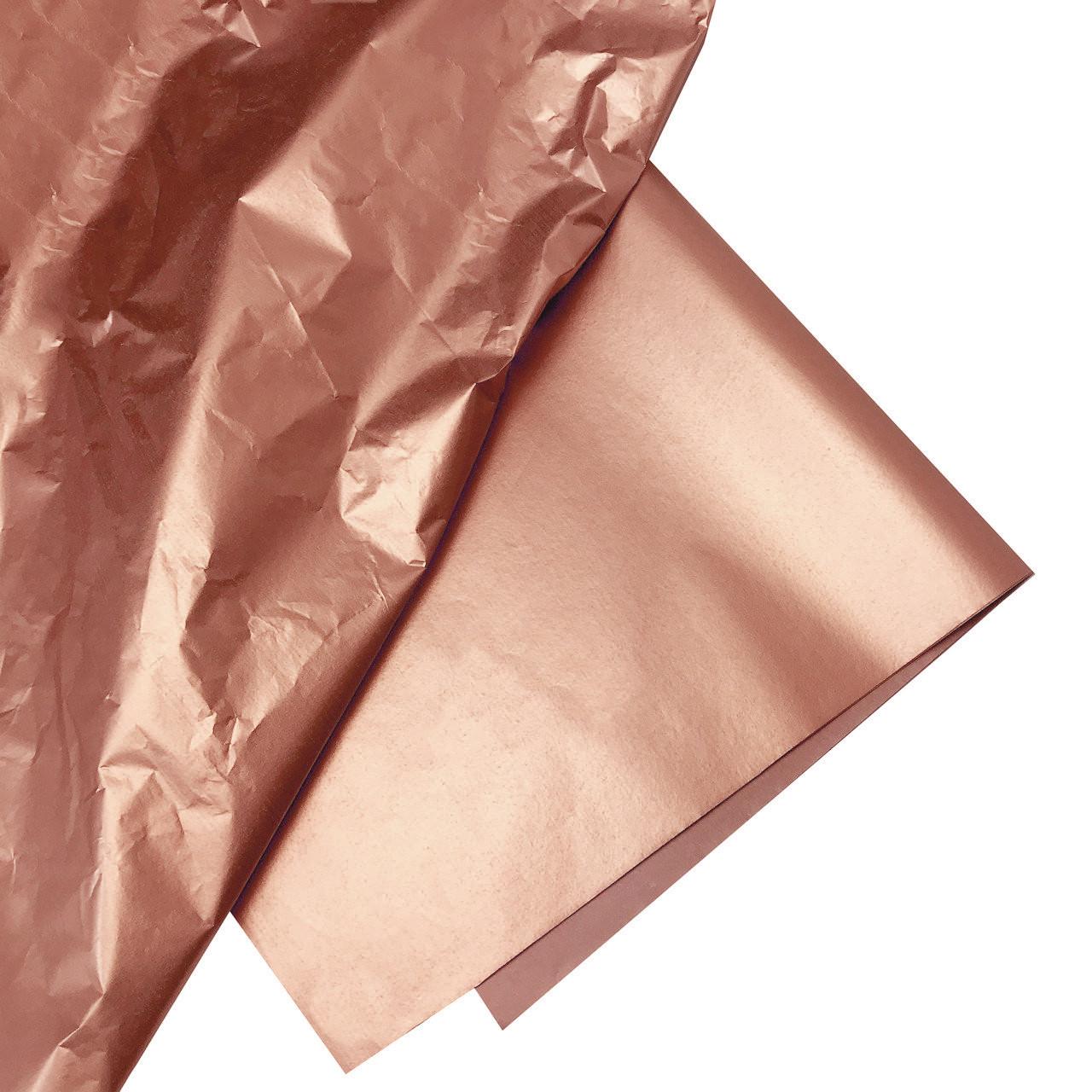 Бумага тишью розовое золото (металлизированная с одной стороны) упаковка 10 листов