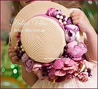 """Капелюшок з квітами та стрічкою до вишуканої сукні """"Камея"""""""