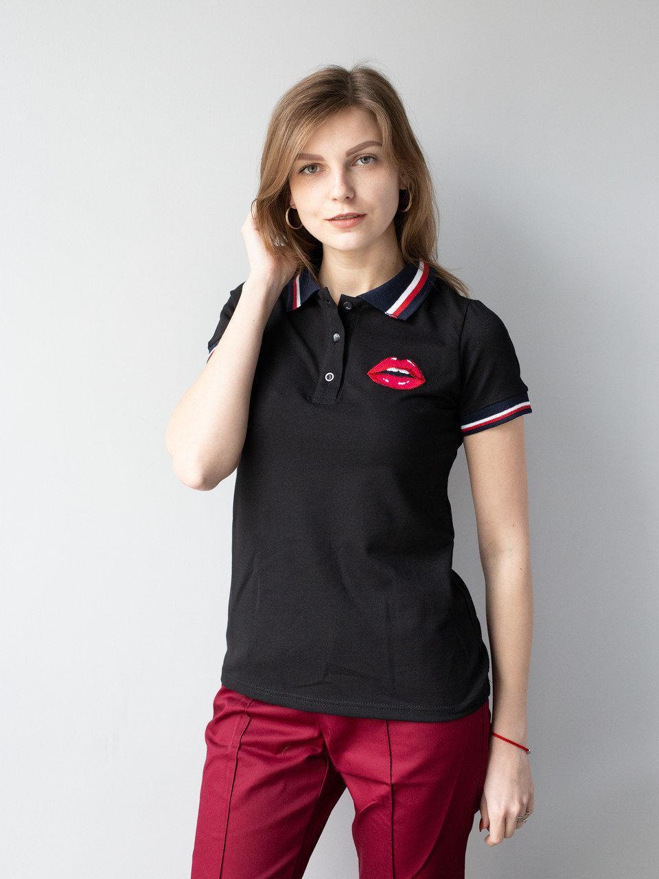Черная медицинская красивая футболка с вышивкой S-XL