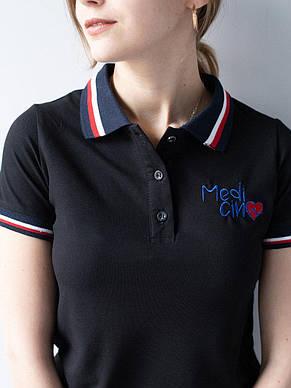 Чорна медична красива футболка з вишивкою S-XL, фото 3
