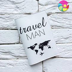 Обложка для паспорта Travel man 3 (белый)