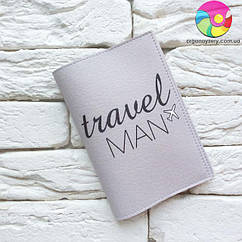 Обложка для паспорта Travel man 4 (серый)