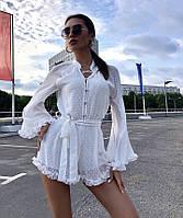 Женский комбинезон шифон горох, юбка-шорты с рюшами, приталенный почском завязкой на груди, пуговки (42-46)