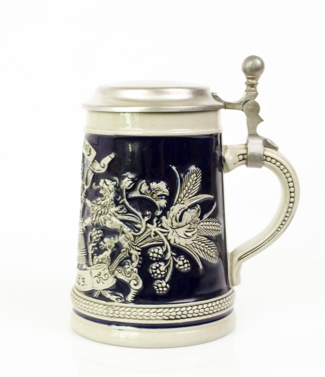 Антикварный бокал для пива, керамика олово Германия