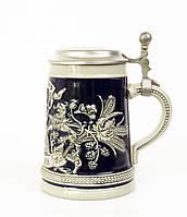 Антикварный бокал для пива, керамика олово Германия, фото 1