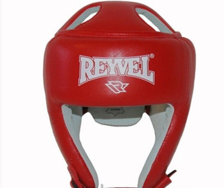 Шлем боксерский REYVEL  Кожа Красный, Синий