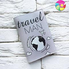 Обложка для паспорта Travel man 5 (серый)