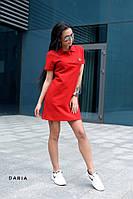 Летнее платье - поло с коротким рукавом прямого кроя с воротником 55PL3083