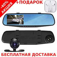 """Зеркало видеорегистратор 2 видеокамеры дисплей 4,3"""" Original size + наушники iPhone 3.5"""