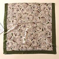 Шарф шелковый с розами оливковый